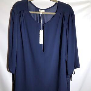 Antilia Femme Plus Size Blouse Sheer Navy NWT